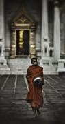 Wat Bencha Monk Print by David Longstreath