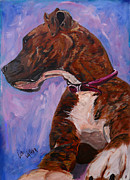 Brindle Painting Prints - Watch Dog Print by Lee Walker