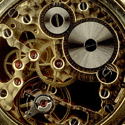 Transmission Photo Prints - Watch mechanism. close-up Print by Bernard Jaubert