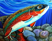 Salmon River Idaho Paintings - Watch Out Breeding Male Brookie by Jackie Carpenter