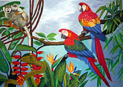 Parrot Tapestries - Textiles Metal Prints - Watch Out hand embroidery Metal Print by To-Tam Gerwe