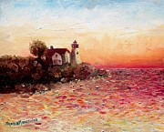 New England Lighthouse Paintings - Watch Over Me by Shana Rowe