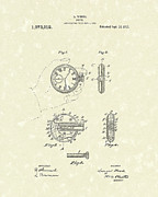 Pistol Drawings Posters - Watch Pistol 1913 Patent Art Poster by Prior Art Design