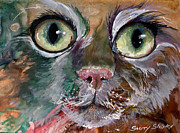 Cat Paintings - Watch the Birdie by Sherry Shipley
