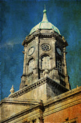 Watch Tower Prints - Watch Tower of Dublin Castle. Streets of Dublin. Painting Collection Print by Jenny Rainbow