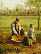 Autumn Woods Painting Posters - Watching Father Work Poster by Albert Neuhuys