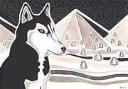 Siberian Husky Paintings - Watching Over the Wild by Heidi Bjork