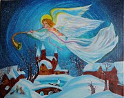 Night Angel Paintings - Watching Over You by Ruslana Lev