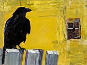 Raven Mixed Media Prints - Watching Print by Pat Saunders-White