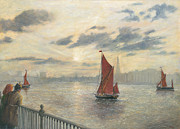 Eric Bellis Prints - Watching Sailing Barges on the Thames Print by Eric Bellis