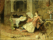 Rococo Framed Prints - Watching the Baby  Framed Print by Edouard Toudouze
