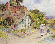 English Cottages Prints - Watching the Ducks Print by William Stephen Coleman