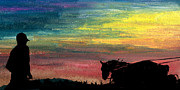 Indiana Landscapes Mixed Media Posters - Watching the Horses Poster by R Kyllo