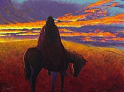 Plains Indian Paintings - Watching The Magic  by Joe  Triano