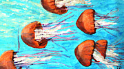 Monteray Bay Paintings - Watching the Orange Jelly Fish by Rita Brown