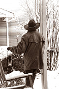 Front Porch Prints - Watching the Snow Print by American West  Legend