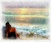 Sunset Seascape Digital Art Prints - Watching the Sunset Print by Anthony Caruso