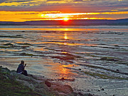 Watching Over Posters - Watching the Sunset over Minas Basin in Fundy Bay near Grand Poster by Ruth Hager