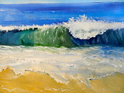 Watching The Wave As Come On The Beach Print by Pamela  Meredith