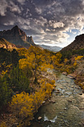 Virgin River Prints - Watchman Sunset Print by Joseph Rossbach