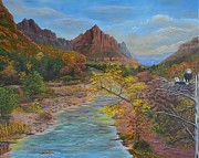 Canyons Paintings - Watchmen Watching Zions Watchman by William Stewart