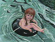 Floating Girl Prints - Water Babies Print by Janis  Cornish