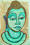 Buddha Sketch Posters - Water Color Buddha  Poster by Sherry Dooley