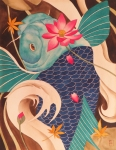 Koi Fish Painting Posters - Water Dragon Poster by Robert Hooper
