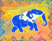 Kitsch Painting Posters - Water Elephant Poster by Anusha Mishra