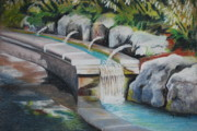 Waterfall Pastels Originals - Water Fall In The Gratto by Joy Bradley