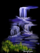 Paiting Posters - Water falls Poster by Twinfinger