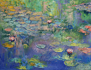 Lillies Painting Prints - Water Garden Print by Michael Creese