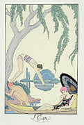 Enjoying Painting Framed Prints - Water Framed Print by Georges Barbier