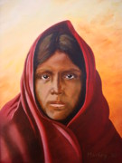Shawl Painting Originals - Water Girl by James Morley