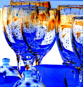 Goblet Digital Art Framed Prints - Water Glasses 4 Framed Print by Randall Weidner