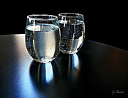 Somber Prints - Water Glasses Print by Joe Bonita