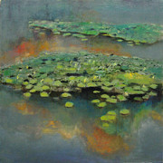 Water Lilies Framed Prints Prints - Water Lilies 2 Print by Cap Pannell