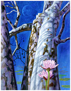 Sycamore Paintings - Water Lilies and Sycamores by John Lautermilch