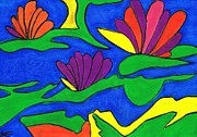 Original Oil Pastels - Water Lilies by Carla Sa Fernandes