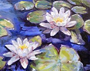 Lotus Blossoms Posters - Water Lilies Poster by Donna Tuten