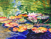 Birthday Cards Painting Originals - Water Lilies by Irina Sztukowski