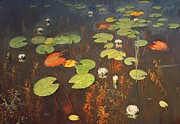 Ponds Painting Posters - Water Lilies Poster by Isaak Ilyich Levitan