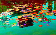 Hommage Prints - Water Lilies Pond Pink Lotus And Koi  Beautiful Nympheas Water Garden  Quebec Art Carole Spandau Print by Carole Spandau