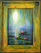 Jerome Stumphauzer Posters - Water Lilies with Painted Framed Poster by Jerome Stumphauzer