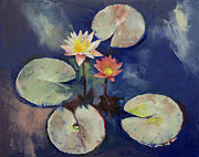 Impasto Posters - Water Lily Painting Poster by Michael Creese