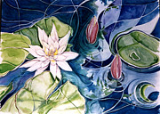 Nature Study Painting Prints - Water Lily Pond Print by Elaine Wilson