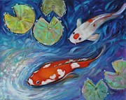 Koi Painting Posters - Water Lily Seekers Poster by Eve  Wheeler