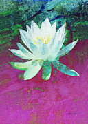 Texture Flower Mixed Media Framed Prints - Water Lily Three Framed Print by Ann Powell