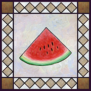 Water Melon Slice Print by Linda Mears