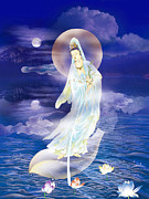 Goddess Digital Art Posters - Water Moon Avalokitesvara Poster by Lanjee Chee